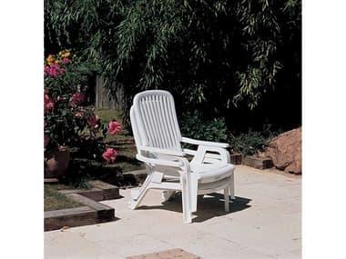 Grosfillex Bahia Resin White Deck Lounge Chair Set GXBAHAILNGSET8