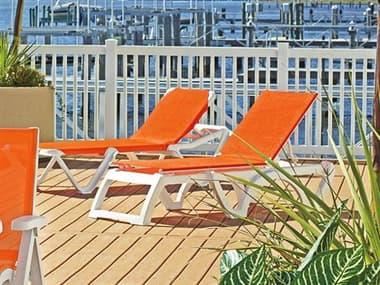 Grosfillex Calypso Sling Resin White Lounge Set in Orange GXCLYPSOLNGSET