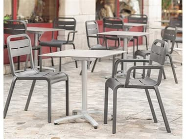 Grosfillex Cannes Resin Charcoal Dining Set GXCNNESDINSET