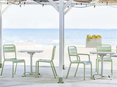 Grosfillex Cannes Resin Sage Green Dining Set GXCNNESDINSET2