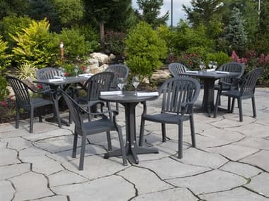 Grosfillex Colombo Resin Charcoal Dining Set GXCOLMBODINSET