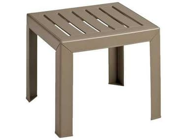 Grosfillex Bahai Resin Taupe 16'' Wide Square End Table GXCT052181