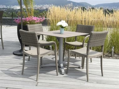 Grosfillex Java Resin French Taupe Dining Set GXJAVADINSET