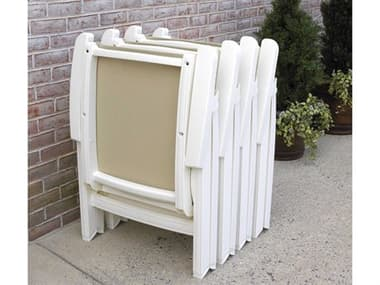 Grosfillex Jamaica Beach Sling Resin White Folding Lounge Chair Set in Straw GXJMCABCHCHRSET