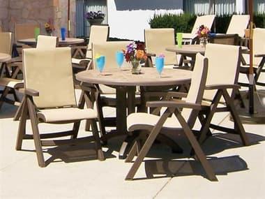 Grosfillex Jamaica Beach Sling Resin Bronze Dining Set in Straw GXJMCABCHDINSET