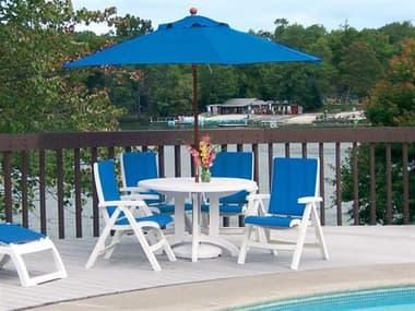 Grosfillex Jamaica Beach Sling Resin White Dining Set in Royal Blue GXJMCABCHDINSET10