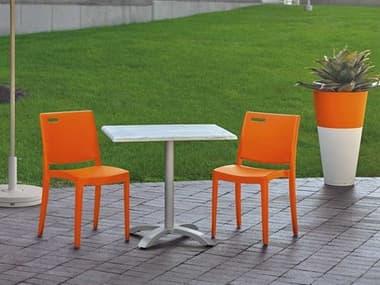 Grosfillex Metro Resin Orange Dining Set GXMETRODINSET1