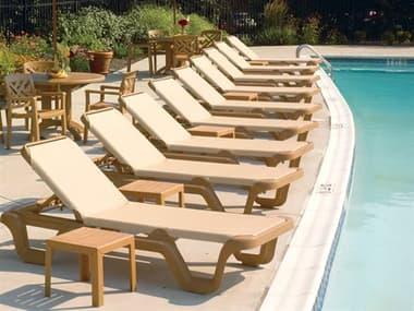 Grosfillex Marina Sling Resin Teakwood Lounge Set in Khaki GXMRNALNGSET1