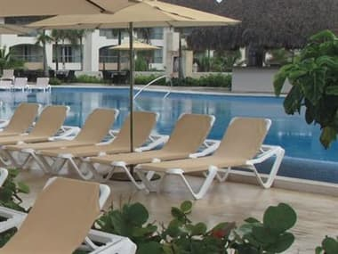 Grosfillex Nautical Sling Resin White Sling Lounge Set in Khaki GXNTCALLNGSET