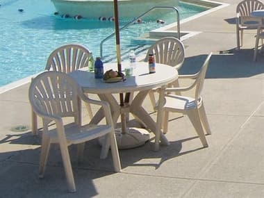 Grosfillex Pacific Fanback Resin Sand Dining Set GXPCFICFNBCKDINSET4
