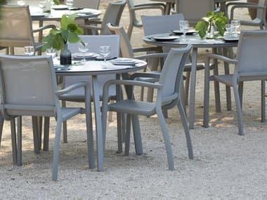 Grosfillex Sunset Platinum Gray Aluminum Sling Dining Set GXSNSTDINSET
