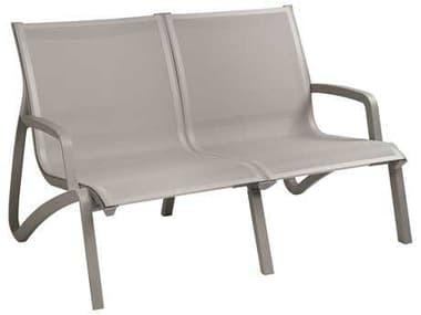 Grosfillex Sunset Sling Aluminum Resin Platinum Gray Loveseat in Gray GXUS002289