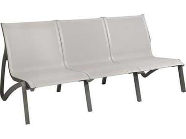 Grosfillex Sunset Sofa Sling Aluminum Resin Volcanic Black Sofa in Gray GXUS003288