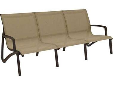 Grosfillex Sunset Sofa Sling Aluminum Resin Fusion Bronze Sofa in Cognac GXUS003599