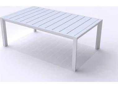 Grosfillex Sunset Aluminum Glacier White 40''W x 24''D Rectangular Coffee Table GXUS004096