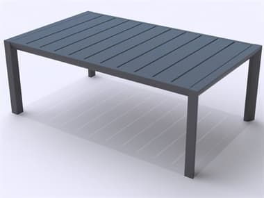 Grosfillex Sunset Aluminum Volcanic Black 40''W x 24''D Rectangular Coffee Table GXUS004288