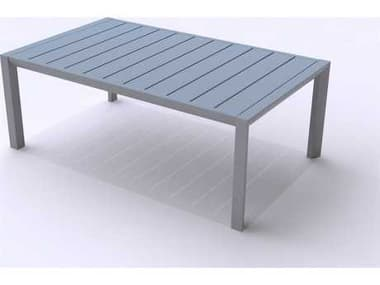 Grosfillex Sunset Aluminum Platinum Gray 40''W x 24''D Rectangular Coffee Table GXUS004289