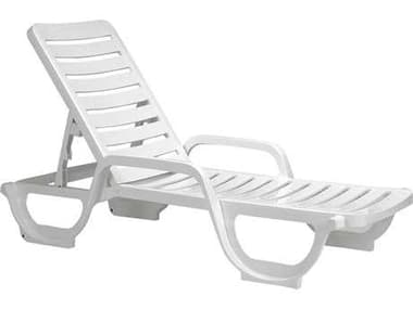 Grosfillex Bahia Resin White Adjustable Chaise Lounge GXUS031004