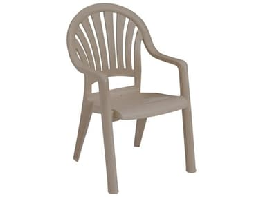 Grosfillex Pacific Fanback Resin French Taupe Stacking Dining Arm Chair GXUS092181