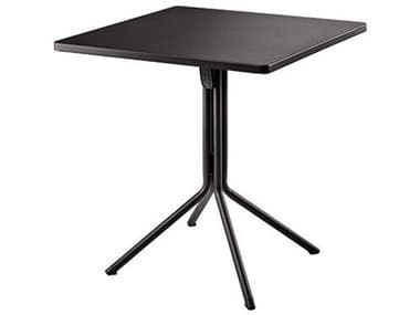 Grosfillex Ramatuelle Steel Pavement Gray Duo 28'' Wide Square Dining Table GXUS112713