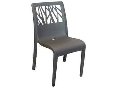 Grosfillex Vegetal Resin Charcoal Stacking Dining Side Chair GXUS117002