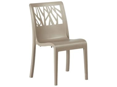 Grosfillex Vegetal Resin Taupe Stacking Dining Side Chair GXUS117181