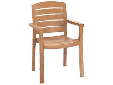 Grosfillex Acadia Resin Teakwood Stacking Dining Arm Chair GXUS119008