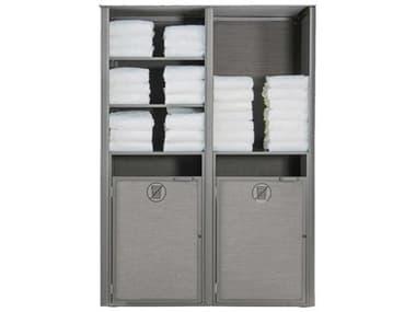Grosfillex Sunset Aluminum Platinum Gray Towel Valet Double Unit GXUS173289