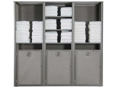 Grosfillex Sunset Aluminum Platinum Gray Towel Valet Double Unit GXUS174289