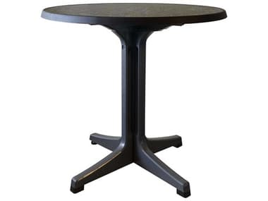 Grosfillex Omega resin Charcoal 34'' Wide Round Dark Concrete Top Bistro Table GXUS288744