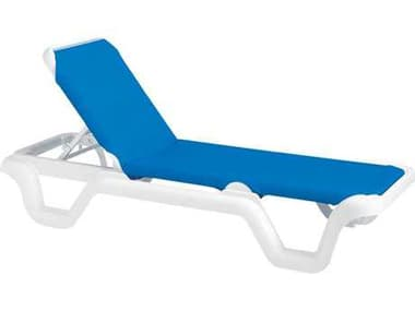 Grosfillex Marina Sling Resin White Adjustable Chaise Lounge in Blue GXUS404006