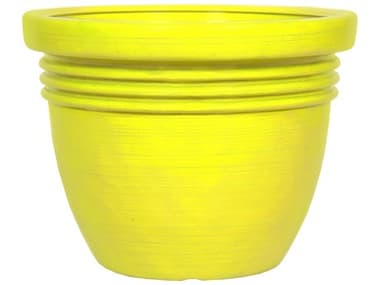 Grosfillex Crowd Control Resin Safety Yellow Dalao 24'' Safety Planter GXUS443013