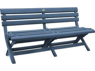 Grosfillex Westport Resin Barn Blue Bench GXUS449747