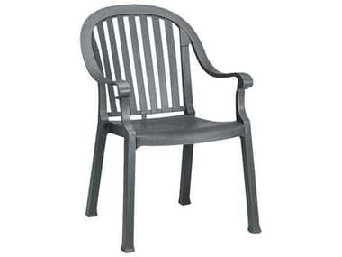 Grosfillex Colombo Resin Charcoal Stacking Dining Arm Chair GXUS496502