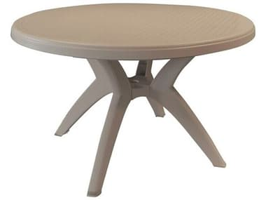 Grosfillex Ibiza Resin French Taupe 46'' Wide Round Dining Table with Umbrella Hole GXUS526181