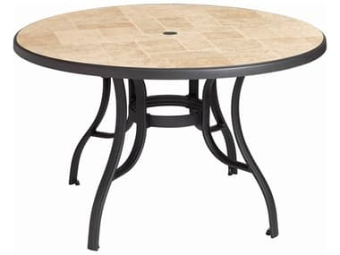Grosfillex Louisiana Aluminum Charcoal 48'' Wide Round Toscana Top Dining Table with Umbrella Hole GXUS527102