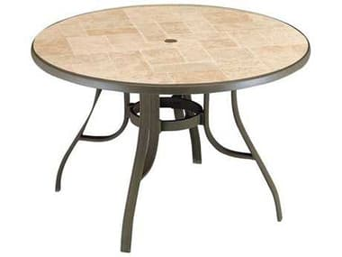 Grosfillex Toscana Aluminum Bronze Mist 48'' Wide Round Toscana Top Dining Table with Umbrella Hole GXUS527137