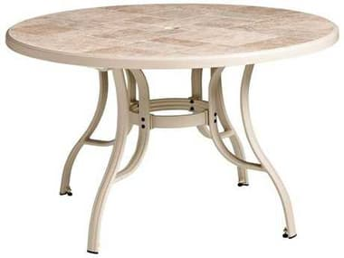 Grosfillex Toscana Aluminum Sand 48'' Wide Round Tosacana Top Table with Umbrella Hole GXUS527166