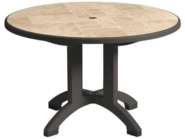 Grosfillex Aquaba Classic Resin Charcoal 48'' Wide Round Toscana Top Dining Table with Umbrella Hole GXUS701102