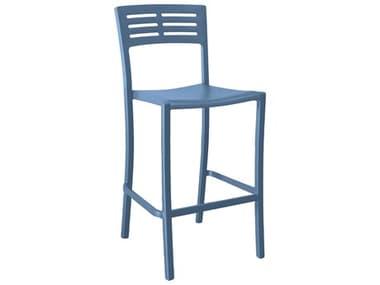 Grosfillex Vogue Resin Denim Blue Stacking Barstool GXUS739680