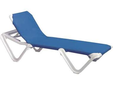 Grosfillex Nautical Sling Resin White Adjustable Chaise Lounge in Blue GXUS910106