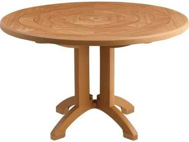 Grosfillex Aquaba Classic Resin Teakwood 48'' Wide Round Teakwood Top Dining Table with Umbrella Hole GXUS921208