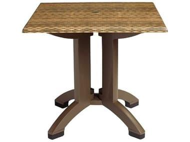 Grosfillex Atlanta Resin Wicker Decor 32'' Wide Square Dining Table with Umbrella Hole GXUT370018