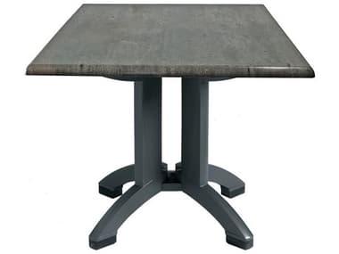 Grosfillex Atlanta Resin Granite Decor 32'' Wide Square Dining Table with Umbrella Hole GXUT370038