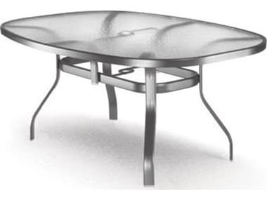 Homecrest Glass Aluminum 78''W x 43''D Oval Dining Table with Umbrella Hole HC1778501