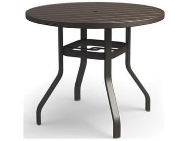 Homecrest Breeze Aluminum 42'' Wide Round Bar Table with Umbrella Hole HC3042RBR