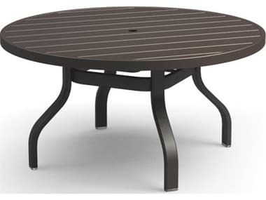 Homecrest Breeze Aluminum 42'' Wide Round Chat Table with Umbrella Hole HC3042RC