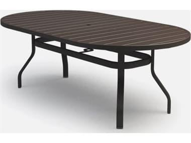 Homecrest Breeze Aluminum 82''W x 42''D Oval Counter Table with Umbrella Hole HC304482B