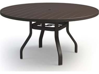 Homecrest Breeze Aluminum 54'' Wide Round Dining Table with Umbrella Hole HC3054RD