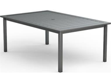 Homecrest Dockside Aluminum 70''W x 44''D Rectangular Dining Table with Umbrella Hole HC314470D